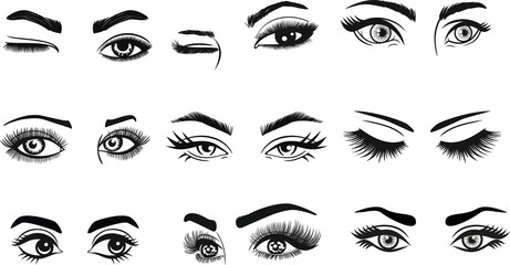 Eyes Eyelashes Eyebrow Lashes Eye Makeup for cutting and printing