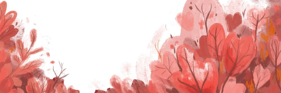 White background pink tree Watercolor cute illustration for media design or paper background valentine's day wallpaper.