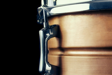 Close-up Drum set in a black background. Wall mural
