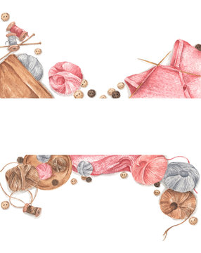 Accessories for sewing and needlework concept. Colored balls of yarn, buttons, knitting and knitting needles on white background, Copy space. Flat lay, top view. Watercolor illustration.