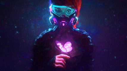 Foto op Aluminium Vlinders in Grunge Digital illustration of cyberpunk girl in futuristic gas mask with protective glasses, filters in jacket looking at the glowing pink butterfly landed on her finger in a night scene with air pollution