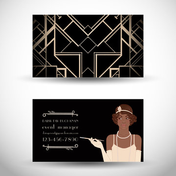 Retro fashion. glamour girl of twenties. African American woman. Vector illustration. Vintage party invitation design template.