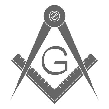 vector icon with Masonic Square and Compasses for your design