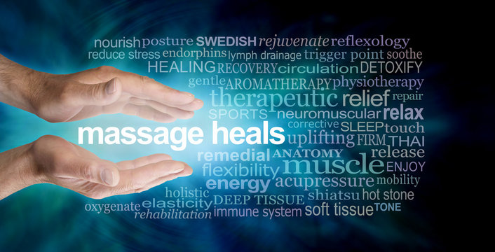Massage heals word tag cloud - male parallel hands with the words MASSAGE HEALS floating between surrounded by a relevant word cloud on a dark petrol blue background