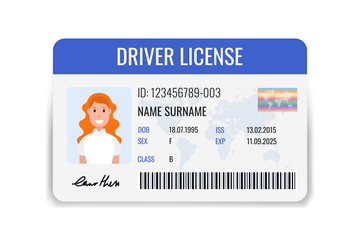 Car driver license identification with female photo. ID card isolated on white background. Vector illustration.
