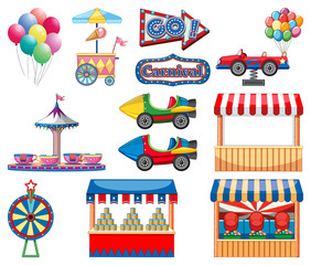 Door stickers Kids Set of circus items on white background