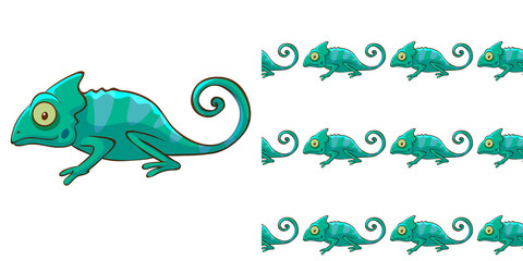 Photo sur Plexiglas Dinosaurs Seamless background design with green chameleon