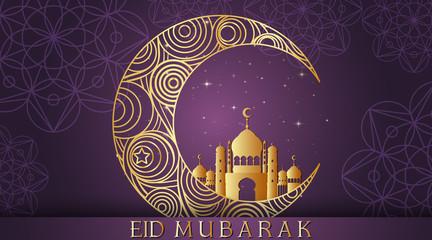 Foto op Canvas Kids Background designs for Muslim festival Eid Mubarak