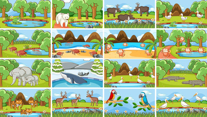 Door stickers Kids Background scenes of animals in the wild