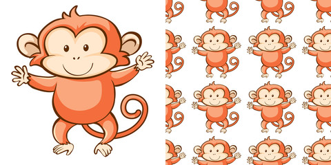 Foto op Canvas Kids Seamless background design with cute monkey