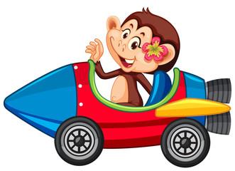 Foto op Canvas Kids Monkey riding on toy rocket cart