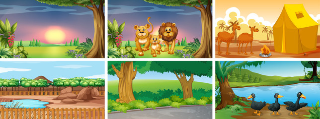 Foto op Canvas Kids Set of different scenes with animals