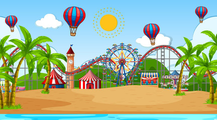 Foto op Canvas Kids Scene with many circus rides and hot air balloon at the beach