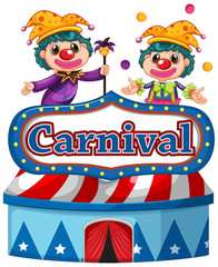 Foto op Canvas Kids Carnival sign template with two happy clowns in background