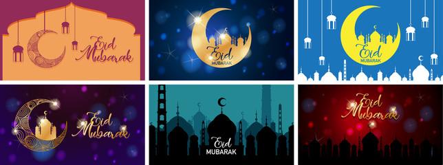 Aluminium Prints Kids Background designs for Muslim festival Eid Mubarak