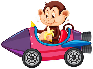 Foto op Aluminium Kids Monkey riding on toy rocket cart