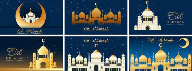 Wall Mural - Background designs for Muslim festival Eid Mubarak