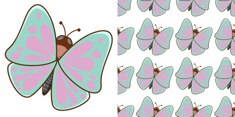 Seamless background design with beautiful butterfly
