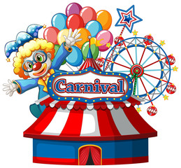 Carnival sign template with happy clown and ferris wheel in background