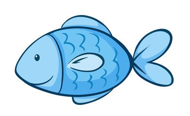 Blue fish on white background