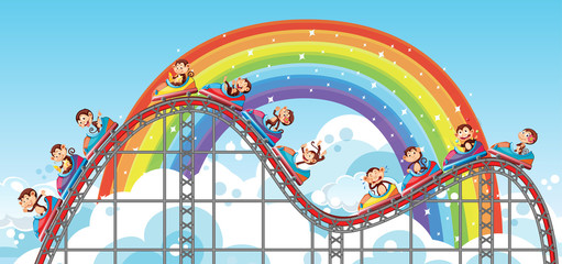 Door stickers Kids Background with happy monkeys riding roller coaster