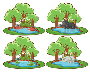 Foto op Aluminium Kids Set of wild animals in the park with pond and tree