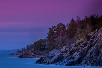 Oslofjord, plaża Krokstrand w Son koło Vestby w gminie Viken w Norwegii, Skandynawia, Europa