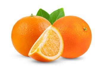 orange fruit with leaf  isolated on white background
