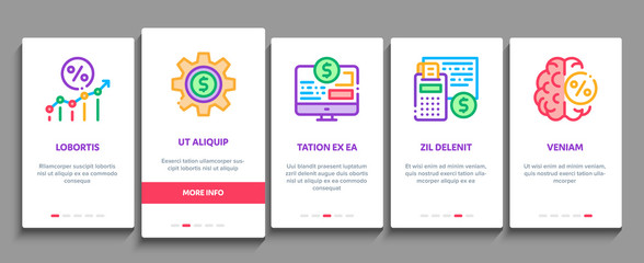 Investor Financial Onboarding Mobile App Page Screen Vector. Investor With Money Dollar And Lightbulb, Brain With Percentage Mark And Document Concept Linear Pictograms. Color Contour Illustrations
