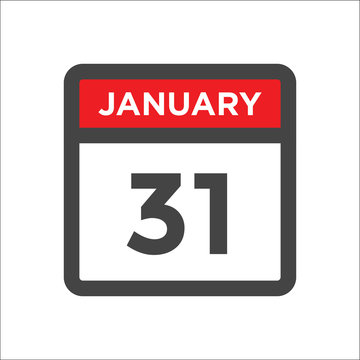 January 31 calendar icon including day of month
