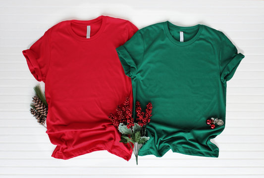 Red and green tshirt mockup - shirt boots and jeans. Christmas mock up