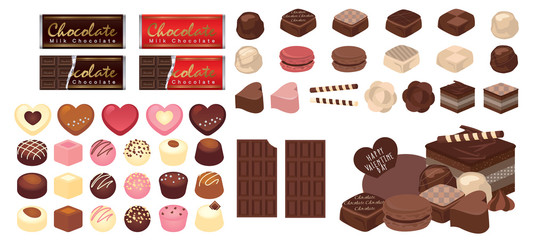 Chocolate candies collection. Vector illustration of different shapes and kinds of chocolate candies, such as truffle and praline. Isolated on white background.
