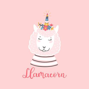 T-shirt Print Design for Kids with Little Funny Llamacorn. Doodle Magic Cute Unicorn Llama with Flower Horn. Cartoon Animal Vector illustration. Scandinavian Poster, Baby Shower Greeting Card, Nursery
