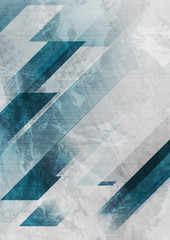 Wall Mural - Blue and grey grunge stripes abstract flyer design. Geometric tech background. Vector illustration