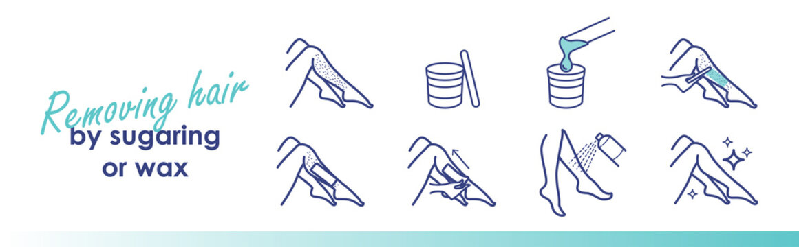 Removing hair by sugaring or wax. Vector trendy line illustration