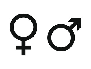 Gender Symbols. Male and female sign. Venus and mars astrology logo. Vector illustration image. Isolated on white background.