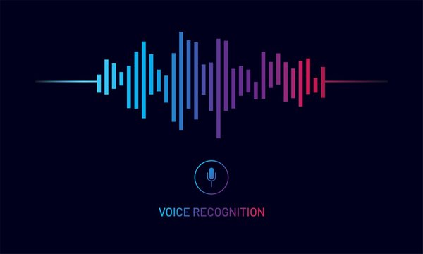 Personal assistant and voice recognition concept design. Vector illustration of soundwave intelligent technologies.