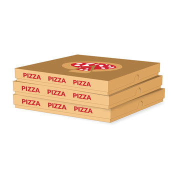 Pizza Boxes on white background.