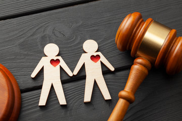 Judge gavel and the figure of two gay guys holding hands