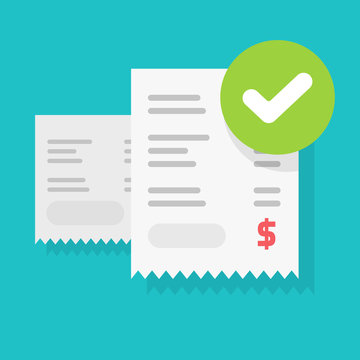 Success bill payment or approved money transaction notice vector illustration flat cartoon, finance receipt invoice with checkmark or tick as successful pay or verification isolated image