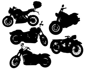 Fototapete - Retro motorcycle one white background. Isolated silhouettes