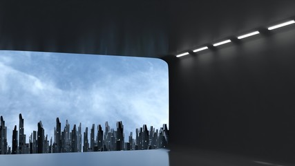 3D Rendering of wide angle view of abstract digital city from large empty window panel room. Led light reflection on ceiling and floor. Concept of big data, ai. For product show case background.