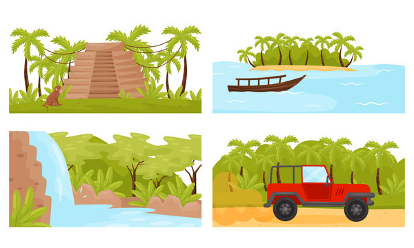 Tropical Island Scenic Illustrations with Palm Trees and Waterfall Vector Set