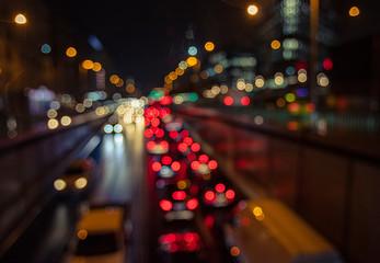 Fotomurales - bokeh night traffic