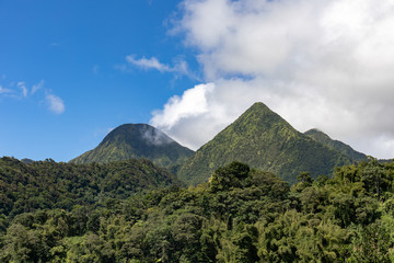 Fort de France, Martinique, FWI - View to the Carbet Pitons from Balata gardens