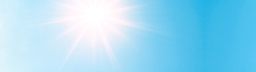 Blue sky with sunshine background panorama banner