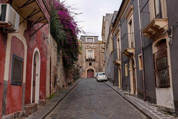 picturesque narrow street in Catania, Sicily, Italy