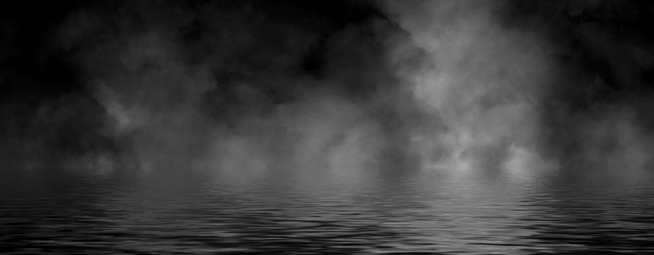 Panoramic view abstract smoke steam moves on black background texture . The concept of aromatherapy. Reflection on water. Stock illustration.