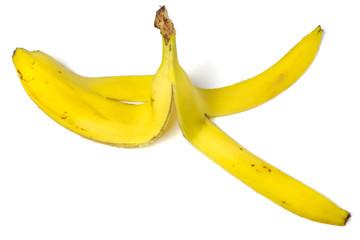 Banana peel isolated on white background. Ripe peeled banana.