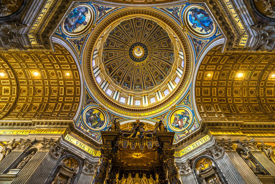 ROME, ITALY - NOVEMBER 3, 2015: Inside the Saint Peter basilica (San Pietro). St. Peter's Basilica is one of the main tourist attractions of Rome. Vatican city.